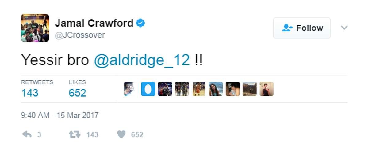 Clippers guard Jamal Crawford reacts to LaMarcus Aldridge's return.