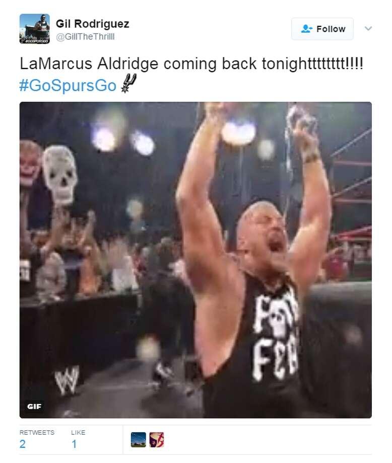 Social media reacts to LaMarcus Aldridge's return. Photo: Twitter