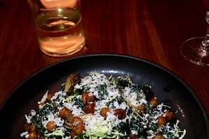 Kale salad with Brussels sprouts, crispy chickpeas and anchovy vinaigrette ($13)