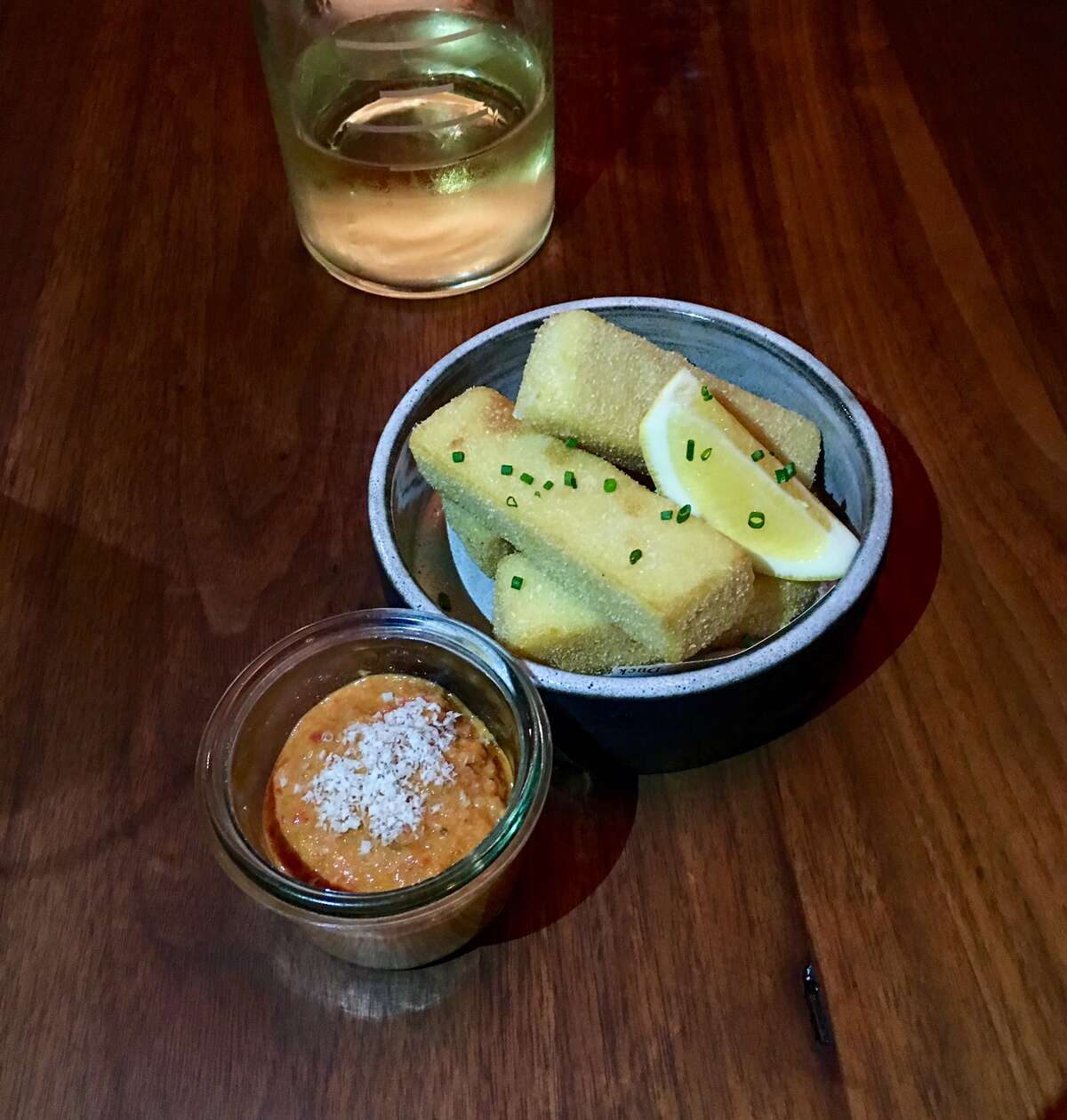 Panisse frits with grilled pepper and almond romesco ($8)