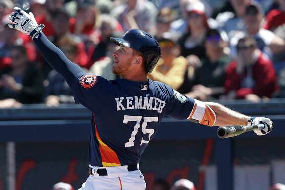 Houston Astros right fielder Jon Kemmer (75) bats against the Washington Nationals in a spring training baseball game Wednesday, March 15, 2017, in West Palm Beach, Fla. (AP Photo/John Bazemore)