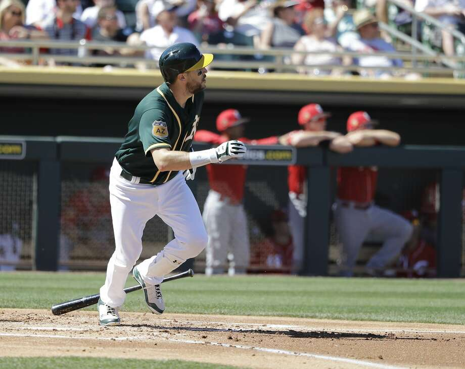 Oakland Athletics' Trevor Plouffe hits during a spring training baseball game against the Cincinnati Reds, Thursday, March 9, 2017, in Mesa, Ariz. (AP Photo/Darron Cummings) Photo: Darron Cummings, Associated Press