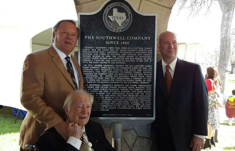"In a ceremony last year, the Texas Historical Commission honored the Southwell Co. – a San Antonio company that has produced more than 16,000 state historical markers over the last six decades – with its own marker. Pictured are company President Wilson ""Billy"" P. Southwell III and vice president Scott Southwell with their father Wilson ""Bill"" P. Southwell Jr. Photo: Southwell Company"