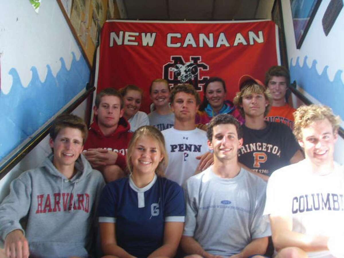 New Canaan crew seniors have been recruited to row at top colleges across the country. (L-R) 1st row: Andrew Campbell, Jr., Marianne Hoeft, Conor Eagan, Roger Stone; 2nd row: Will Danneman, Aki Tas, Alec Buckenheimer, 3rd row: Jennifer DeCata (Ridgefield), Mackenzie Bess (Norwalk), Samantha Kurt, and Charlie Kelly