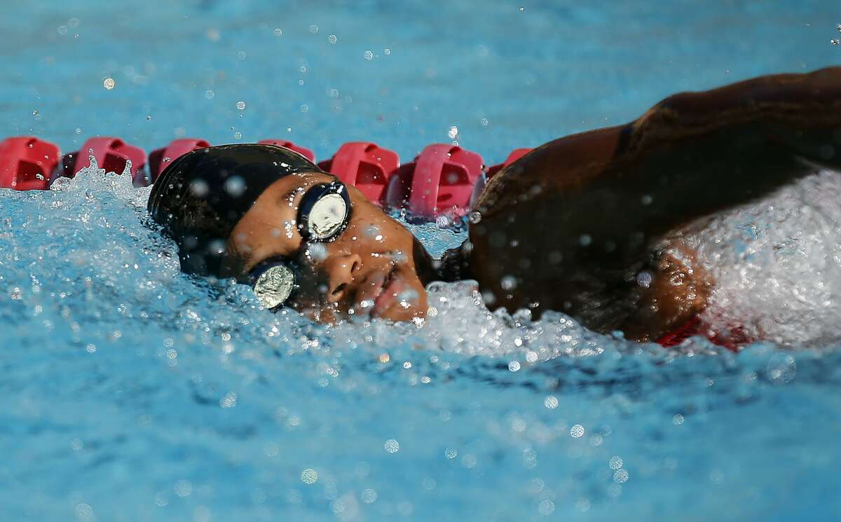 Stanford's Simone Manuel swims in the Women's 200 Yard Freestyle during a swim meet against USC on Saturday, Jan. 28, 2017 in Stanford, Calif. Simone Manuel broke the Avery Pool record in the 200 freestyle.