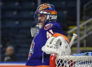BRIDGEPORT, CT - JANUARY 25: Jaroslav Halak #41 of the Bridgeport Sound Tigers at the Webster Bank Arena on January 25, 2017 in Bridgeport, Connecticut. (Photo by Gregory Vasil/Getty Images) *** Local Caption ***Jaroslav Halak