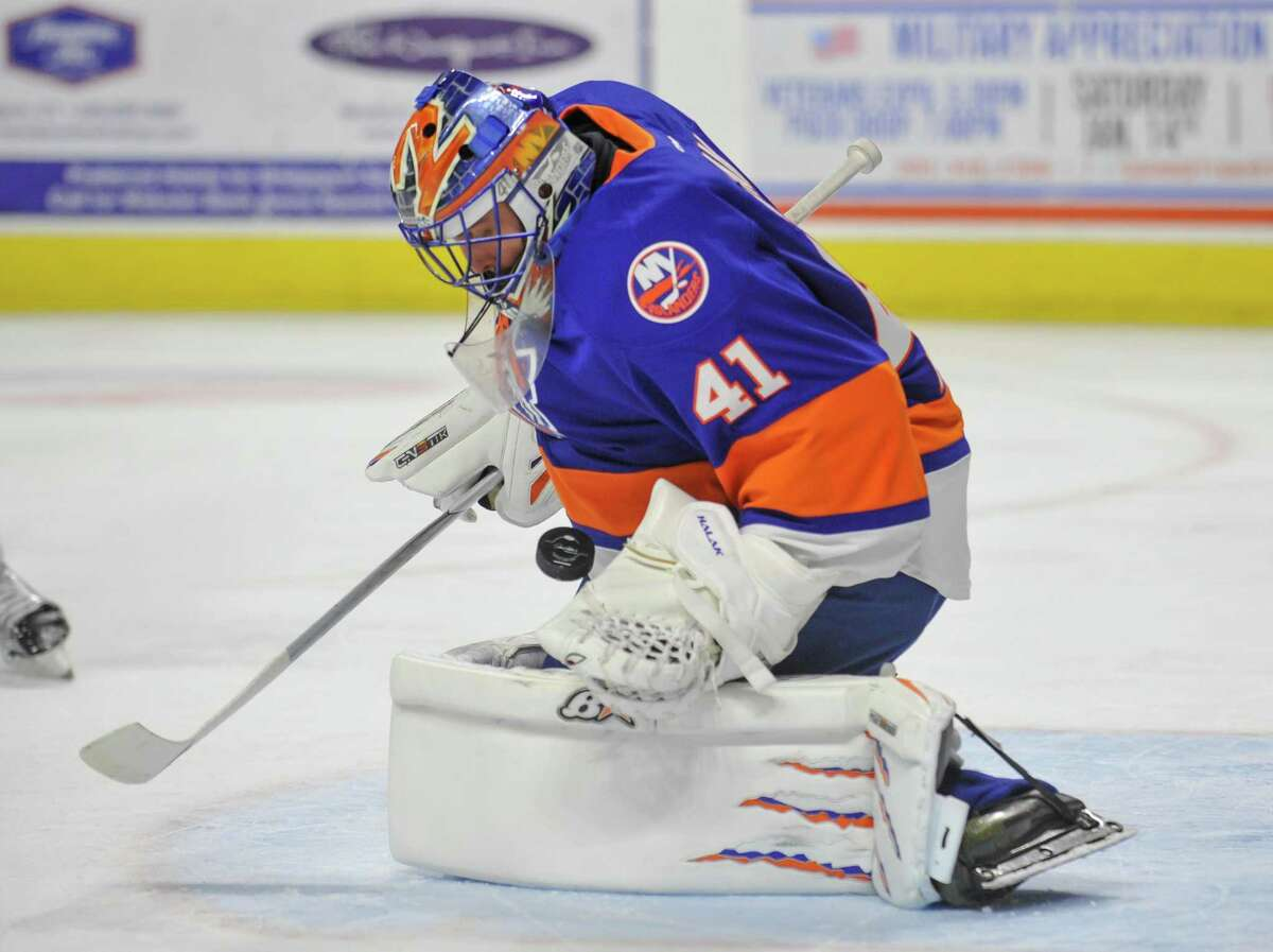 BRIDGEPORT, CT - JANUARY 21: Goalie Jaroslav Halak #41 of the Bridgeport Sound Tigers in makes a save at the Webster Bank Arena on January 21, 2017 in Bridgeport, Connecticut. (Photo by Gregory Vasil/Getty Images)