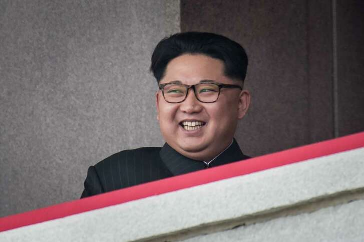"A photo taken on May 10, 2016 shows North Korean leader Kim Jong-Un watching a military parade and mass rally on Kim Il-Sung square in Pyongyang.  Nuclear-armed North Korea launched four ballistic missiles on March 6, 2017 in another challenge to President Donald Trump, with three landing provocatively close to America's ally Japan. Seoul and Washington began annual joint military exercises last week that always infuriate Pyongyang, with the North's military warning of ""merciless nuclear counter-action"".  / AFP PHOTO / Ed JonesED JONES/AFP/Getty Images"