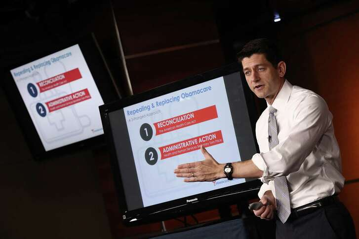 "U.S. Speaker of the House Paul Ryan, R-Wis., explains the Republican plan to replace the Affordable Care Act during his weekly press conference at the U.S. Capitol on March 9, 2017 in Washington, D.C. During his remarks, Ryan said ""We made a promise to repeal and replace Obamacare. Now it's time to do it.""  (Photo by Win McNamee/Getty Images)"