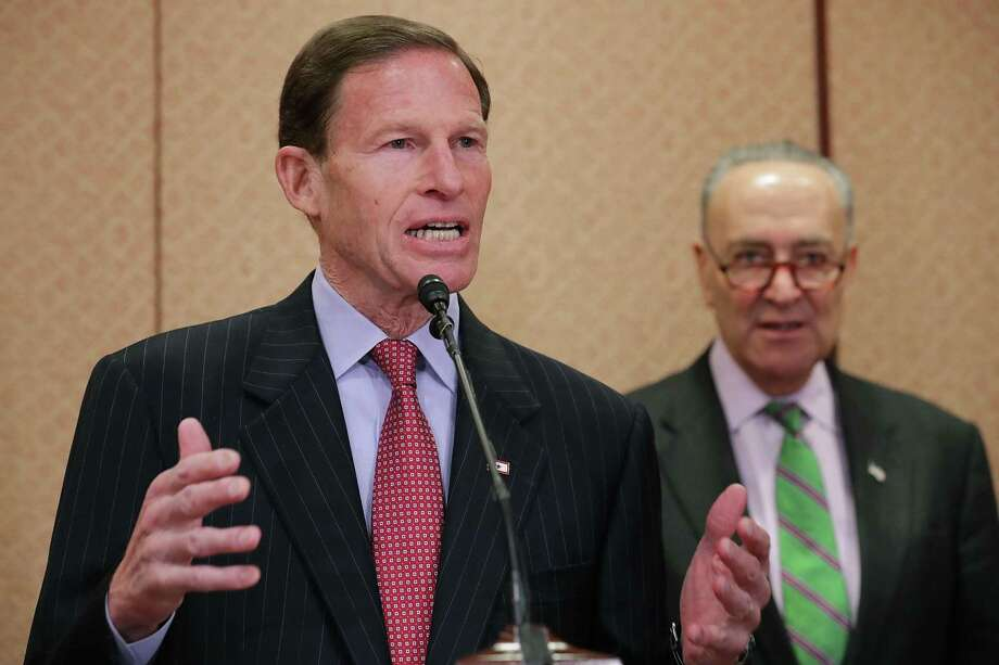 U.S. Sen. Richard Blumenthal (D-CT) (L) and Senate Minority Leader Charles Schumer (D-NY) hold a news conference with people who claim to have been negatively impacted by the decisions of Supreme Court nominee Judge Neil Gorsuch at the U.S. Capitol March 15, 2017 in Washington, DC. Photo: Chip Somodevilla / Getty Images / 2017 Getty Images
