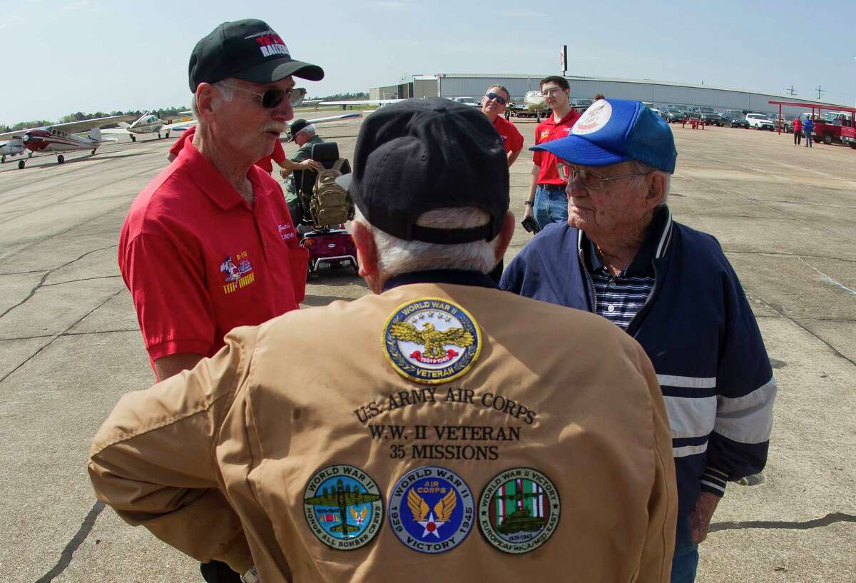 R.B. Kelley (center) flew 35 missions as a B-17 ball turret gunner. Kelley was among several WWII veterans recognized during a ceremony in Conroe.