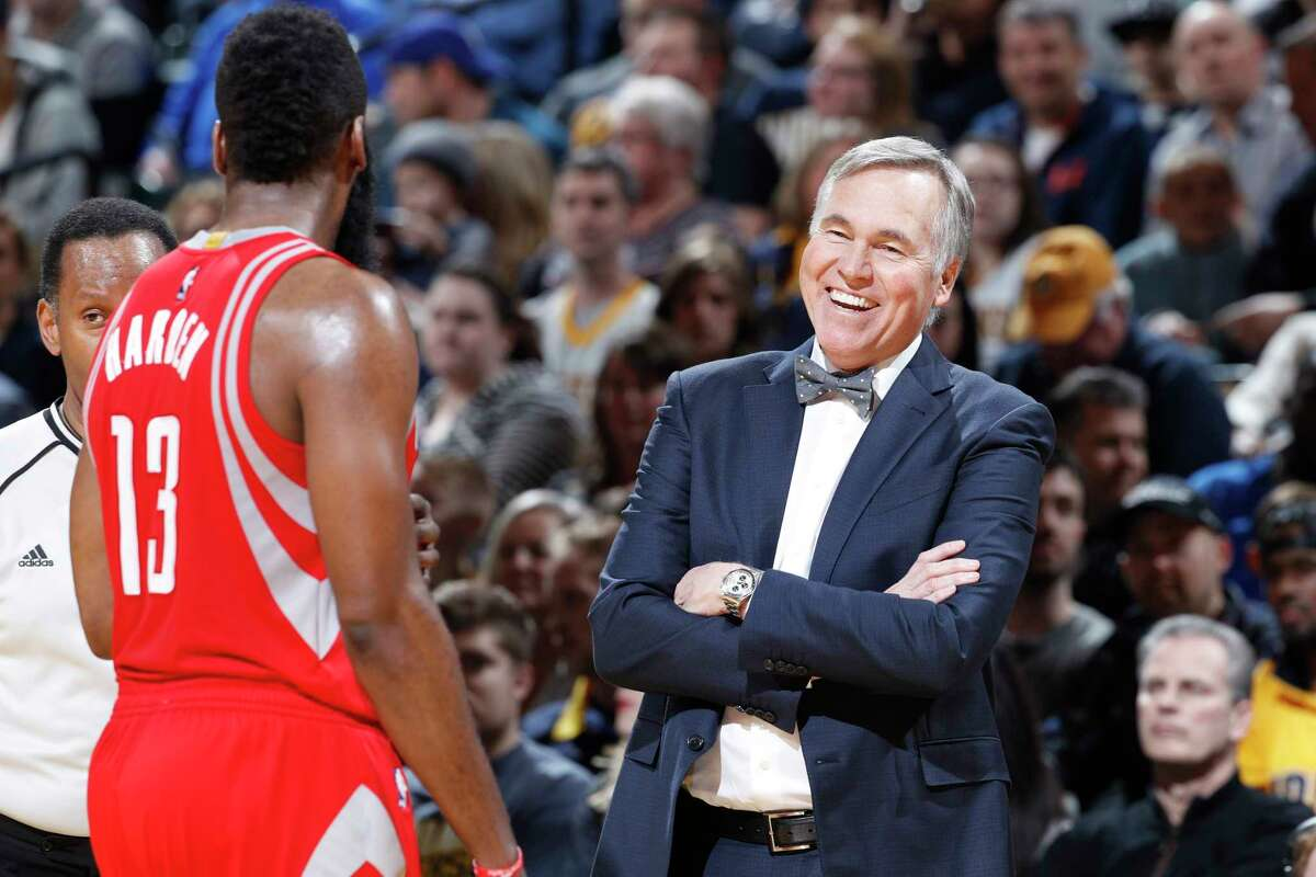 A bow tie-clad Mike D'Antoni has a laugh after a foul is called on James Harden during the Rockets' Jan. 29 loss in Indianapolis. The Pacers defeated the Rockets 120-101. NOTE TO USER: User expressly acknowledges and agrees that, by downloading and or using the photograph, User is consenting to the terms and conditions of the Getty Images License Agreement. (Photo by Joe Robbins/Getty Images)
