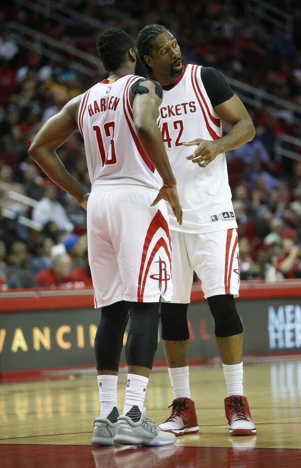 Houston Rockets guard James Harden (13) confers with center Nene (42) during the second half of an NBA game at Toyota Center, Wednesday, March 15, 2017, in Houston.  ( Karen Warren / Houston Chronicle ) Photo: Karen Warren/Houston Chronicle