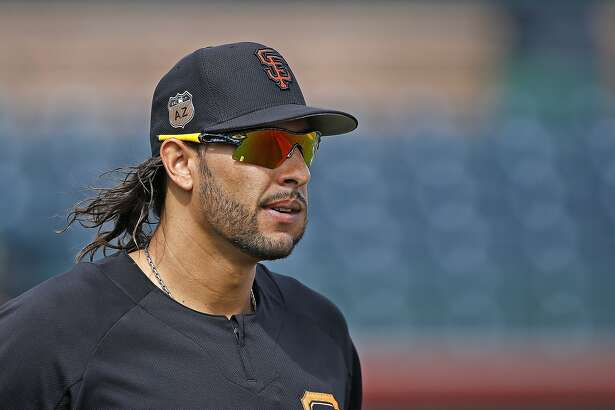San Francisco Giants' Michael Morse waits for his turn to bat during batting practice prior to a spring training baseball game against the Los Angeles Angels Wednesday, March 15, 2017, in Scottsdale, Ariz. The Giants defeated the Angels 7-4. (AP Photo/Ross D. Franklin)