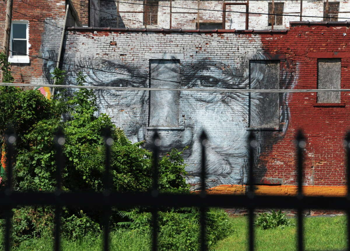 A mural is seen on a building from Broadway on Tuesday, Aug. 26, 2014 in Albany, N.Y. (Lori Van Buren / Times Union)