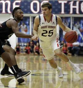 Saint Mary's Joe Rahon, right, drives the ball against Nevada's D.J. Fenner during the first half of an NCAA college basketball game Friday, Nov. 11, 2016, in Moraga, Calif. (AP Photo/Ben Margot)