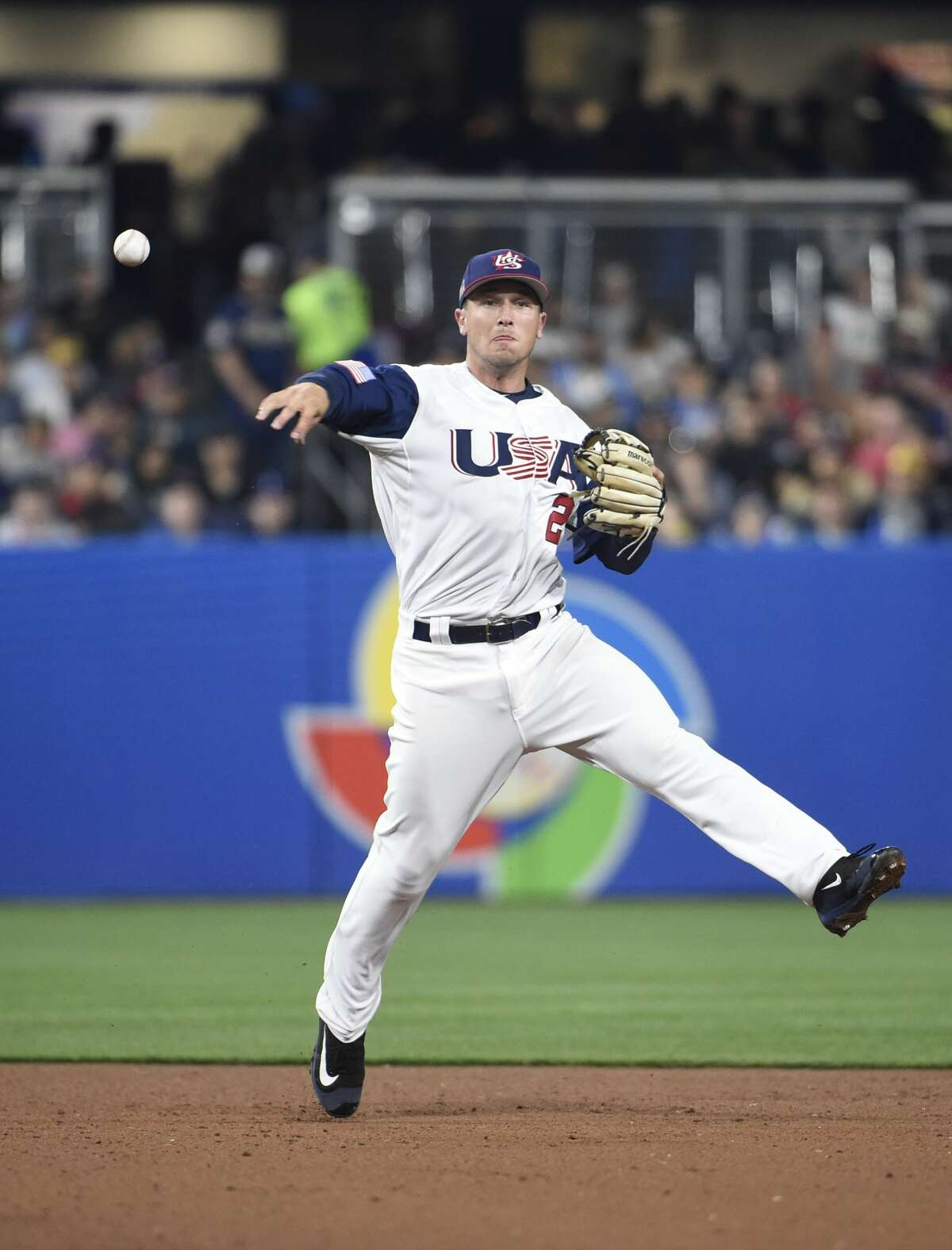 SAN DIEGO, CA - MARCH 15: Alex Bregman #2 of the United States throws out Martin Prado #14 of Venezuela during the sixth inning of the World Baseball Classic Pool F Game Two between Venezuela and the United States at PETCO Park on March 15, 2017 in San Diego, California. (Photo by Denis Poroy/Getty Images)