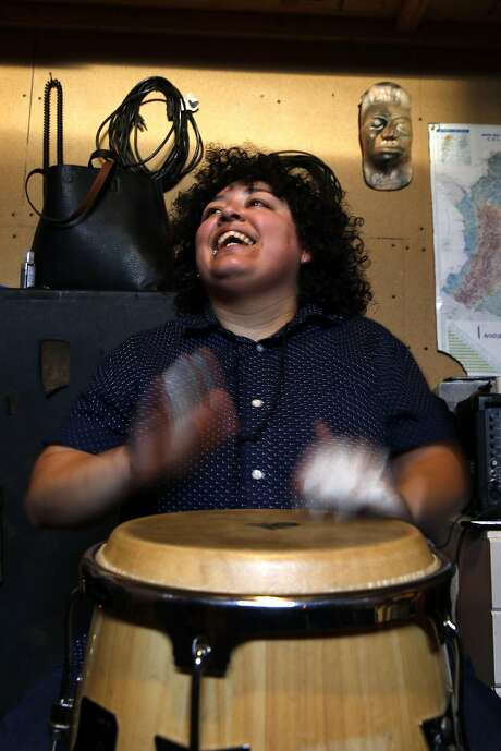 Percussionist Elena de Troya has experimented with conga techniques in different bands. Photo: Scott Strazzante, The Chronicle
