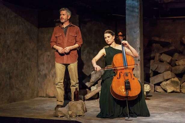 "David Barlow and Kathleen Bowman in ""An Iliad"" at Capital Repertory Theatre. (Photo by Douglas C. Liebig/Capital Rep.)"