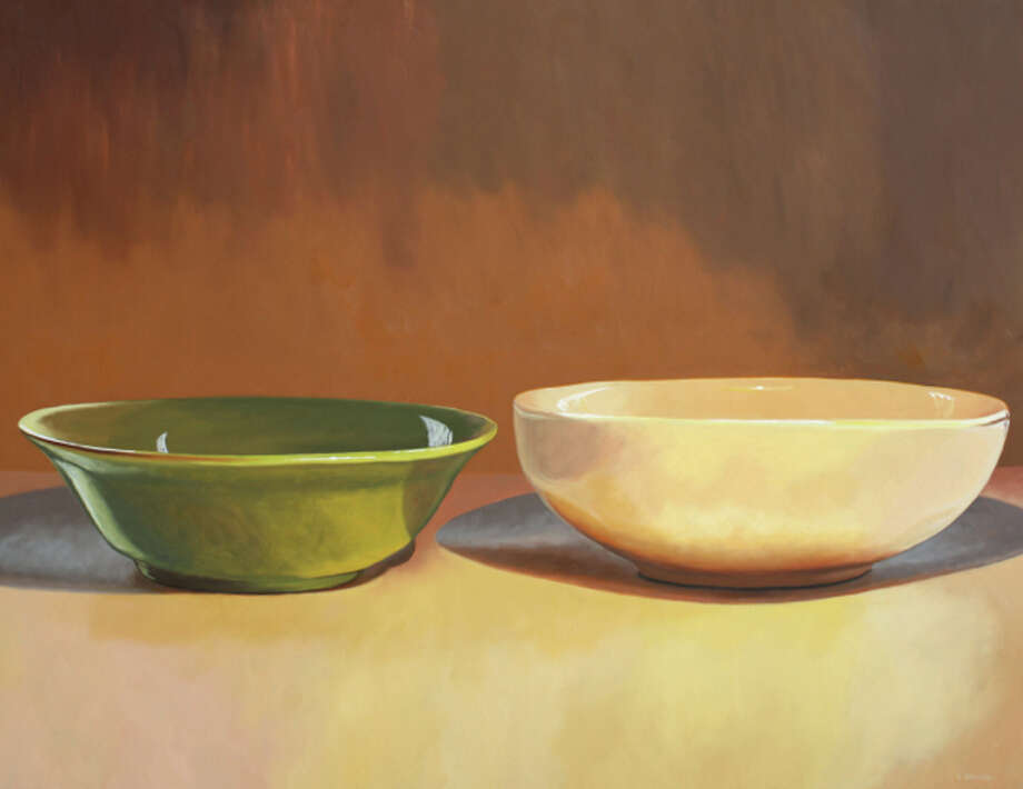 """""""Green Bowl and White Bowl"""" is among the paintings on view in Ellen Berman's show """"Three. Two. One.""""  At Hooks-Epstein Galleries. (For more of Berman's work, scroll through the  slideshow.) Photo: Courtesy Of The Artist, Hooks-Epstein Galleries"""