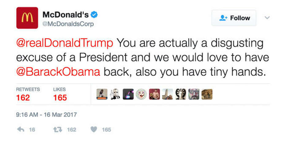 "Thursday morning, McDonald's got really political on their official Twitter account when they called President Trump ""a disgusting excuse of a president."" Continue clicking to see the social media reaction from Twitter following the accidental tweet from McDonald's.Photo from The Hill screenshot Photo: Twitter"
