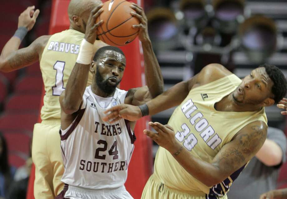 Texas Southern center Marvin Jones (24) brings down a defensive rebound, in the first half of SWAC tournament final against Alcorn State on March 11, 2017, in Houston. Photo: Elizabeth Conley /Houston Chronicle / © 2017 Houston Chronicle