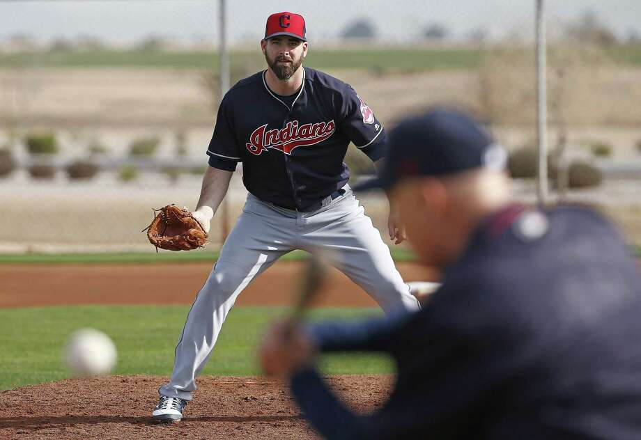 Cleveland Indians pitcher Boone Logan peforrms fielding drills at the team's spring training facility on Feb. 14, 2017, in Goodyear, Ariz. Photo: Ross D. Franklin /Associated Press / Copyright 2017 The Associated Press. All rights reserved.