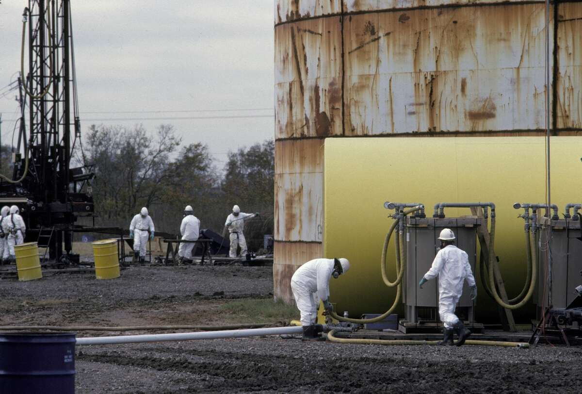 """""""Superfund"""" Environmental Protection Agency workers at designated special polluted sites near the Houston, Texas area. (Photo by Greg Smith/Corbis via Getty Images)"""