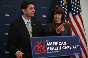 WASHINGTON, DC - MARCH 15:  House Speaker Paul Ryan (L) (R-WI) speaks with House Conference Chair Cathy McMorris Rodgers (R-WA) during a news conference at the U.S. Capitol on March 15, 2017 in Washington, DC.  Speaker Ryan and House Republicans discussed the Amercian Health Care Act.  (Photo by Justin Sullivan/Getty Images)