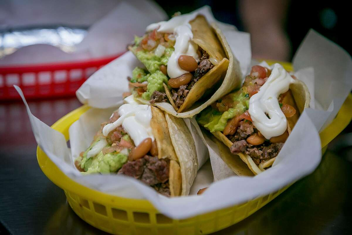 Carne Asada Tacos at La Taqueria in San Francisco, Calif., are seen on March 15th, 2017.