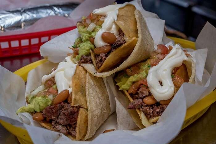 Carne Asada Tacos at La Taqueria in San Francisco, Calif., are seen on March 15th, 2017.