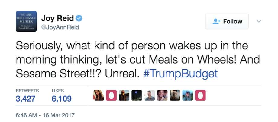 Twitter users expressed their anger at the news Meals on Wheels would be losing its government funding under the new White House budget. Photo: Screenshot Via Twitter