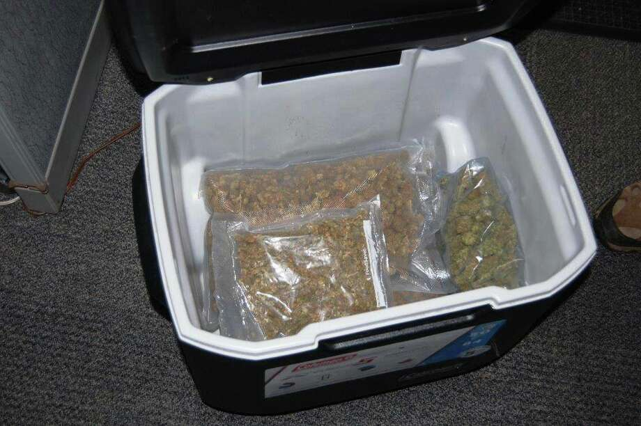Monroe, Washington police say marijuana was found in this cooler which was donated to Goodwill. Photo: Monroe Police Department