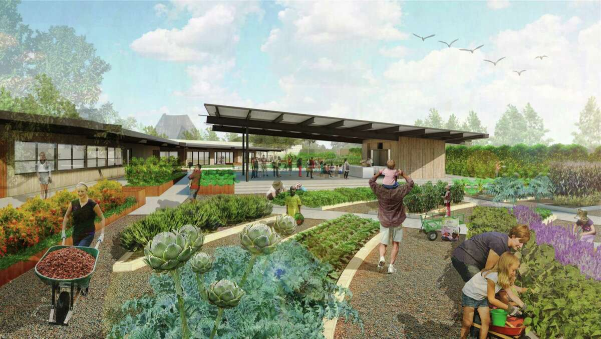 A rendering of the culinary garden and outdoor cooking demonstration kitchen at the San Antonio Botanical Garden, which are scheduled to open this October as part of a 6-acre expansion.