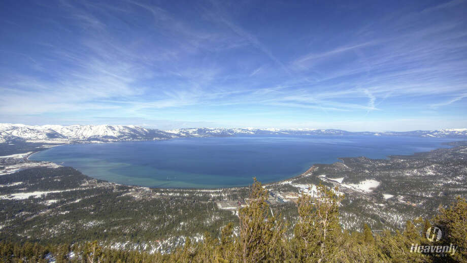 Lake Tahoe above its natural rim after unrelenting storms in January and February 2017:Lake Tahoe reached 6,226.84 feet on Wednesday, March 15. The Lake is full at 6,229 feet.Photo taken from the Heavenly ski resort web camera on March 16, 2017. Photo: Lake Tahoe March 2017