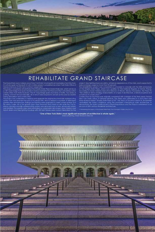 Rehabilitation of the Grand Staircase at the Empire State Plaza in Albany won honors for historic preservation by the American Institute of Architects - Eastern New York chapter. The architect was architecture+.