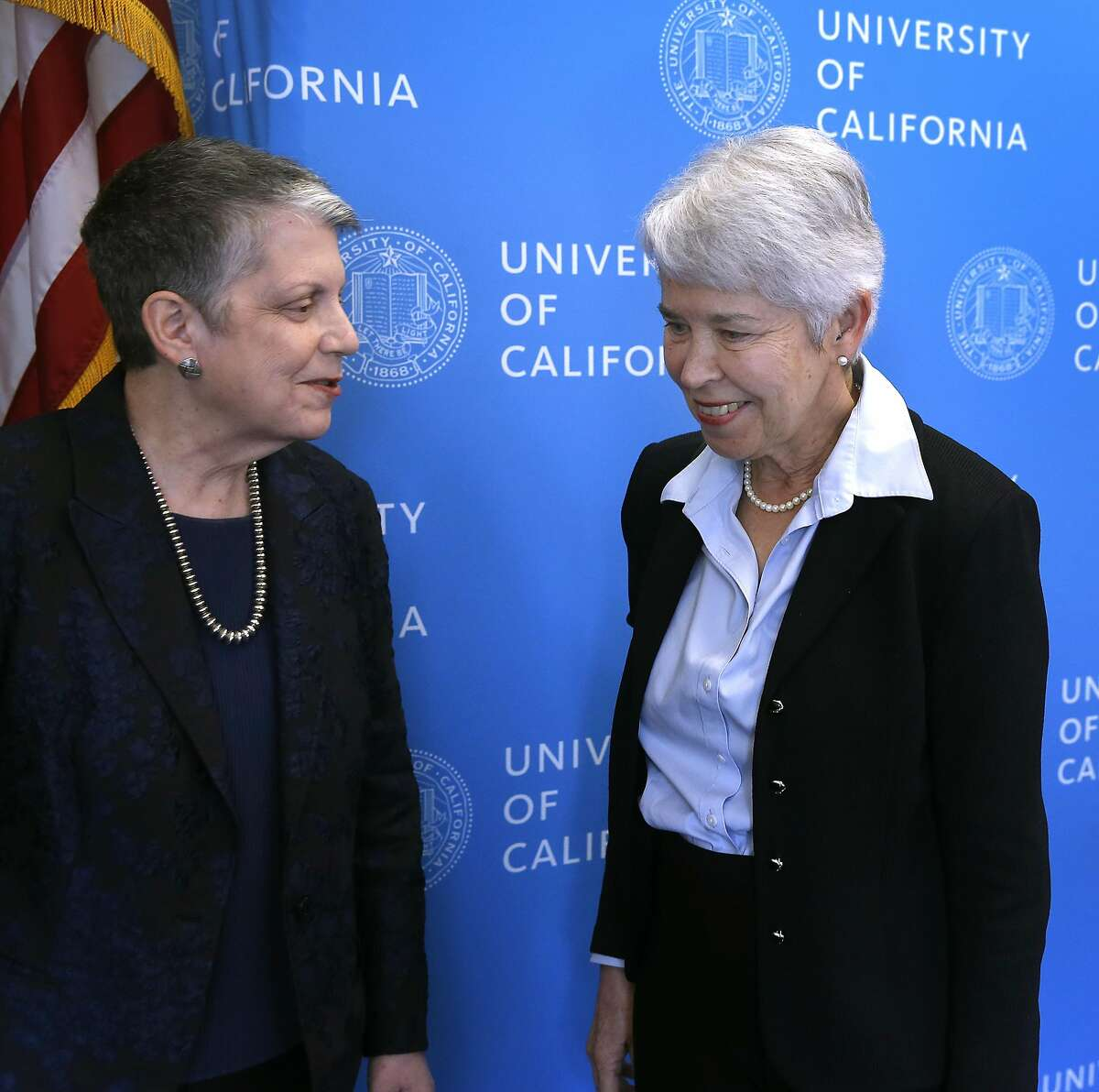 University of California president Janel Napolitano speaks with Carol Christ after she is confirmed as the new chancellor of UC Berkeley by the Board of Regents in San Francisco, Calif. on Thursday, March 16, 2017. Christ succeeds Nicholas Dirks who is stepping down at the end of the current school year.
