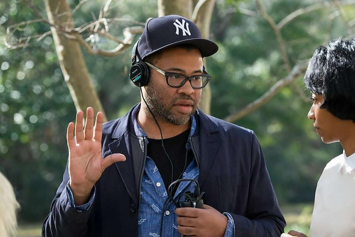 Writer-director Jordan Peele on the set of