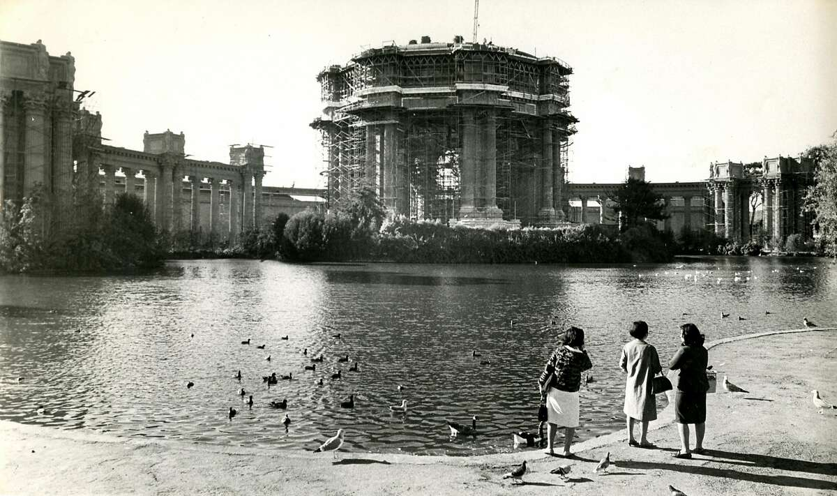 San Francisco Palace of Fine Arts scaffolded during restoration. November 4, 1966