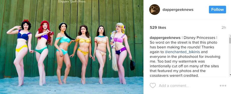 """These princess-inspired bikinis from Enchanted Bikinis have become the must-have swim suit of the season.Instagram user @dappergeeknews captioned this photo, """"Disney PrincessesSo word on the street is that this photo has been making the rounds! Thanks again to @enchanted_bikinis and everyone in the photoshoot for involving me. Too bad my watermark was intentionally cut off on many of the sites that featured my photos and the cosplayers weren't credited.""""Photo: InstagramKeep clicking for more photos of the princess-inspired bikinis. Photo: Instagram"""