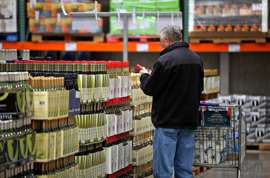 Alcohol sales have surged at Costco, lifted in part by the cult status of its Kirkland Signature-branded liquors. Photo: Tim Boyle /Bloomberg News / Bloomberg