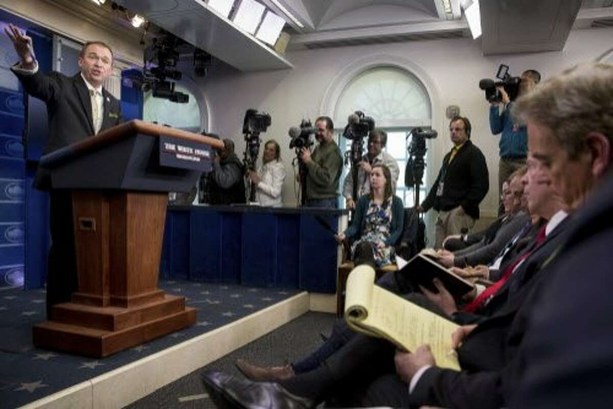 Budget Director Mick Mulvaney speaks about President Donald Trump's budget proposal for the coming fiscal year during daily press briefing at the White House, in Washington, Thursday, March 16, 2017. (AP Photo/Andrew Harnik)