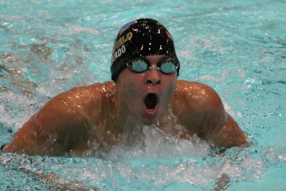 Brookfield's Michael Poplardo swims in the 200-yard individual medley. Photo: Richard Gregory / Richard Gregory