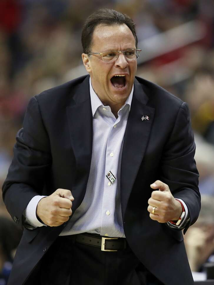 FILE - In this March 9, 2017, file photo, Indiana head coach Tom Crean reacts during the second half of an NCAA college basketball game against Iowa in the Big Ten tournament in Washington. Indiana coach Crean has been fired after five seasons. Athletic director Fred Glass announced the decision Thursday, March 16, 2017, as the NCAA Tournament was beginning. (AP Photo/Alex Brandon, File)
