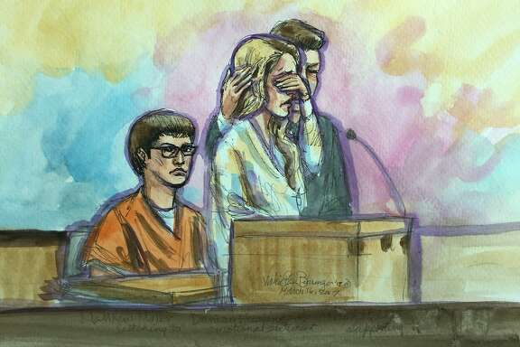 A sketch of defendant Matthew Muller, from left. looks on as  Denise Huskins and her boyfriend, Aaron Quinn, both gave emotional victim impact statements during sentencing in federal court in Sacramento, Thursday, March 16, 2017. Muller's sentencing ends a chapter in the sensational Vallejo kidnapping case that police originally dismissed as a hoax.
