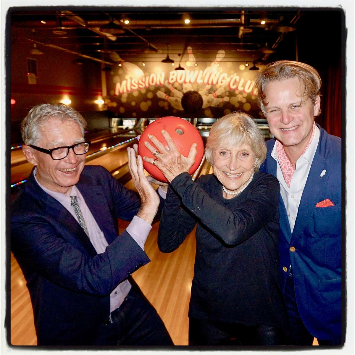 Film director Christopher Upham (left) with Roxie Theater foundation trustees Diana Fuller and Owsley Brown at Mission Bowling. March 8, 2017.