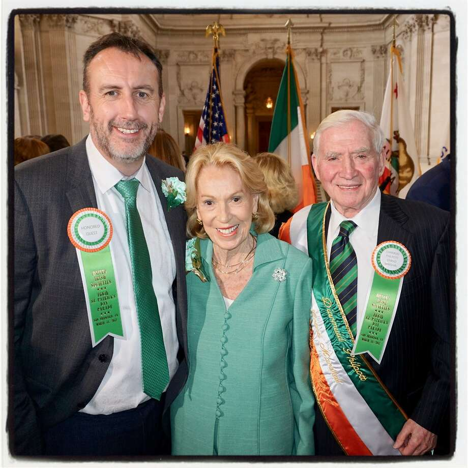 Irish Consul General Philip Grant (left) with Protocol Chief Charlotte Shultz and the St. Patrick's Day Parade Grand Marshall Diarmuid Philpott at City Hall March 3, 2017. Photo: Catherine Bigelow, Special To The Chronicle