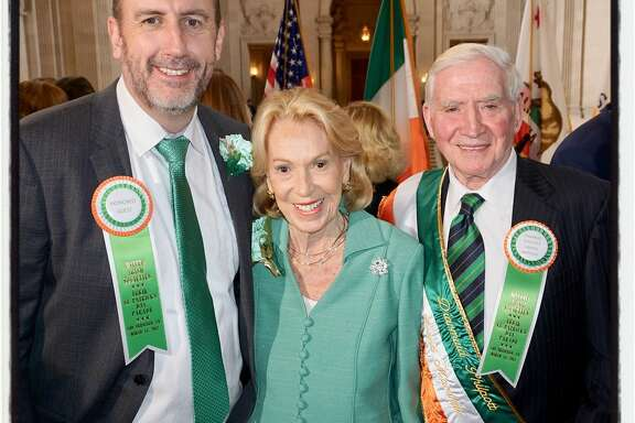 Irish Consul General Philip Grant (left) with Protocol Chief Charlotte Shultz and the St. Patrick's Day Parade Grand Marshall Diarmuid Philpott at City Hal. March 3, 2017.
