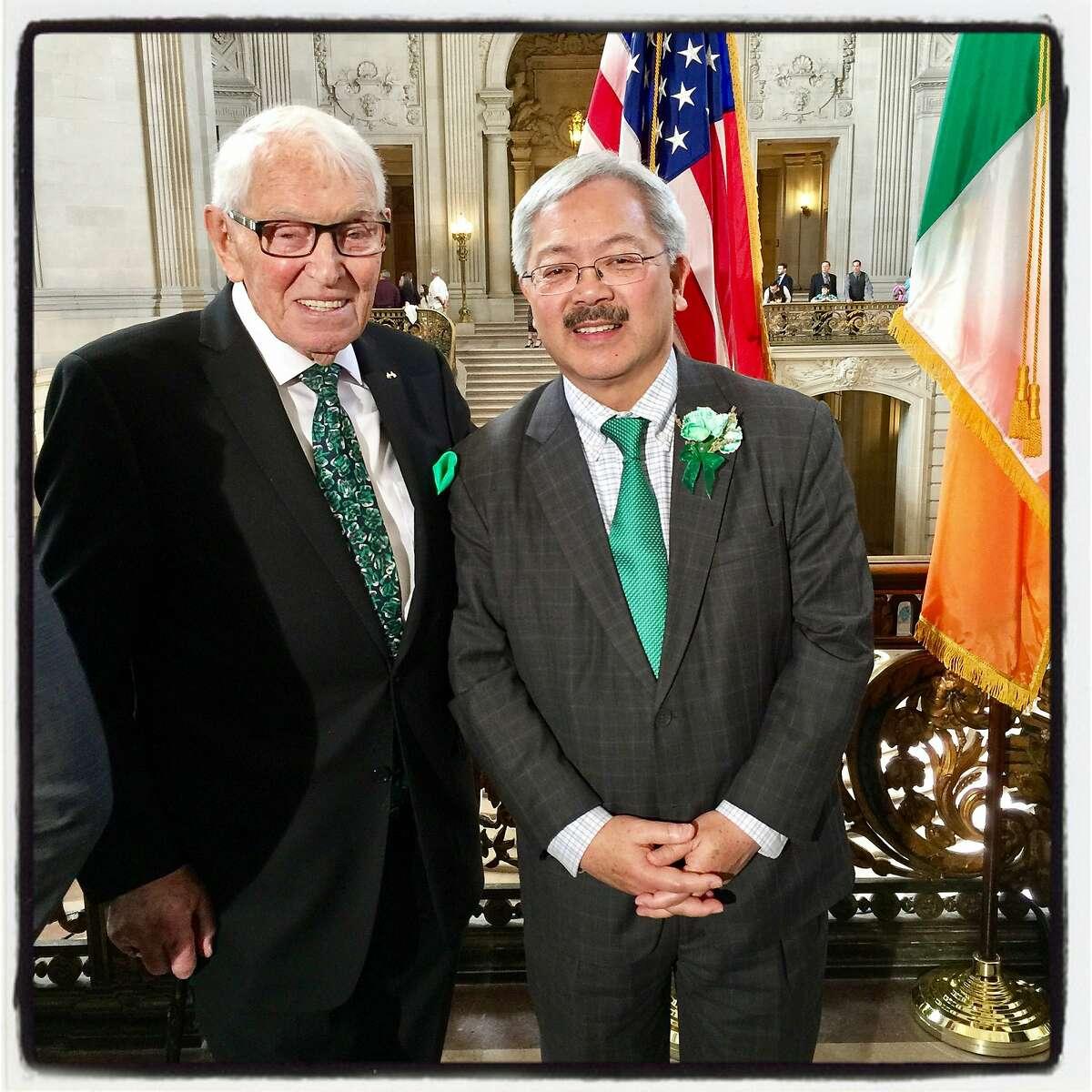 SF-Cork Sister City committee cofounder John Moylan (left) and Mayor Ed Lee at City Hall for the Irish Flag raising. March 3, 2017.