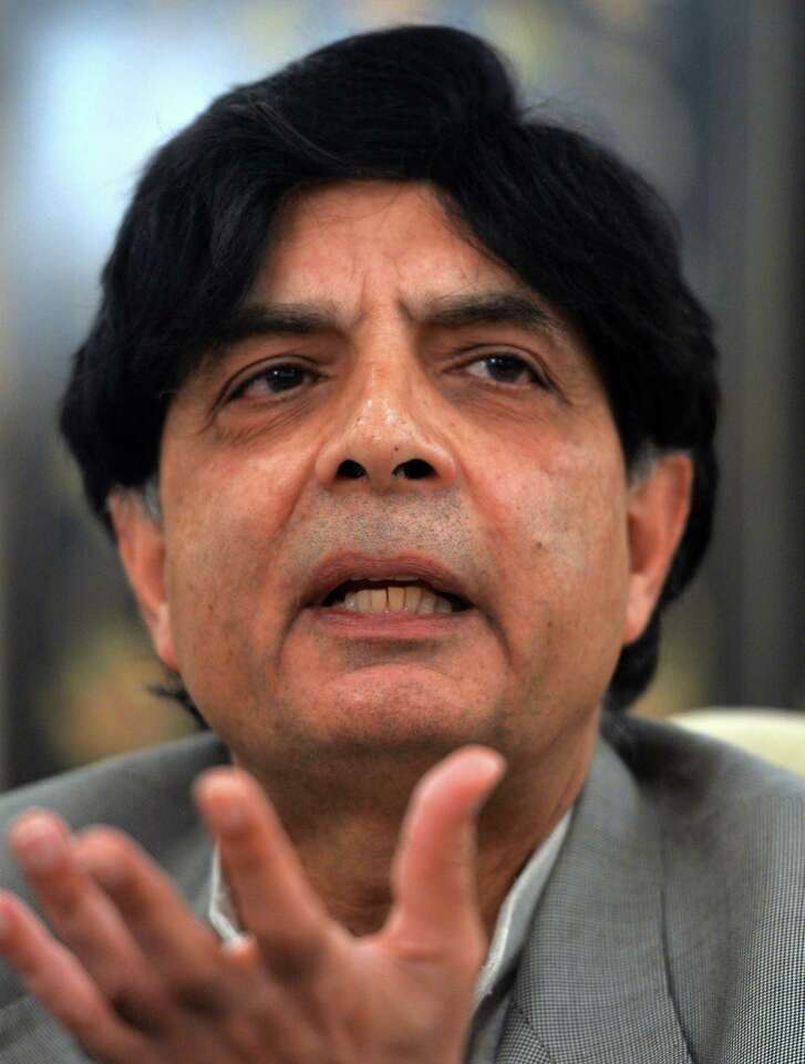 Pakistani Interior Minister Chaudhry Nisar Ali Khan speaks during a press conference in Islamabad on February 20, 2014. Pakistani jets launched strikes on Taliban hideouts in the northwest, killing 15 people according to security sources, in retaliation for attacks by the militants which have derailed peace talks. Khan said that the talks were suspended because of the terrorist attacks but negotiators were still there to work for peace  AFP PHOTO/Aamir QURESHIAAMIR QURESHI/AFP/Getty Images